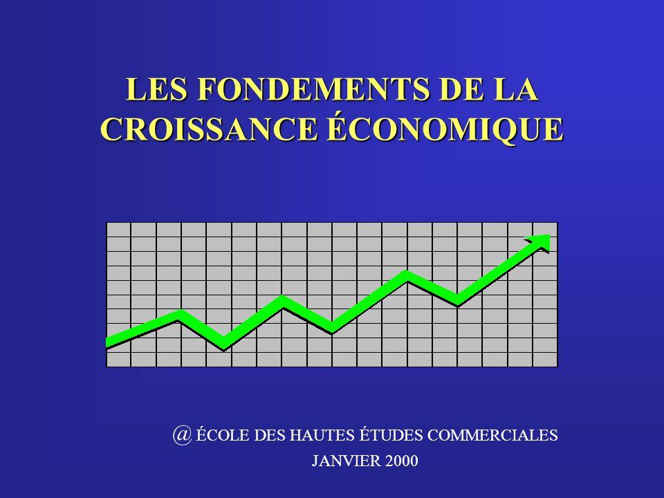 LES FONDEMENTS DE LA CROISSANCE ÉCONOMIQUE @ ÉCOLE DES HAUTES ÉTUDES COMMERCIALES JANVIER 2000