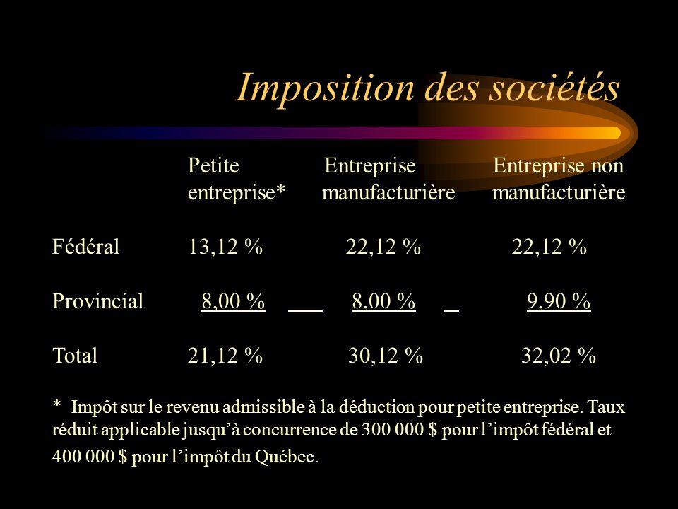 Imposition des sociétés Petite Entreprise Entreprise non entreprise* manufacturière manufacturière Fédéral13,12 % 22,12 % 22,12 % Provincial 8,00 % 8,