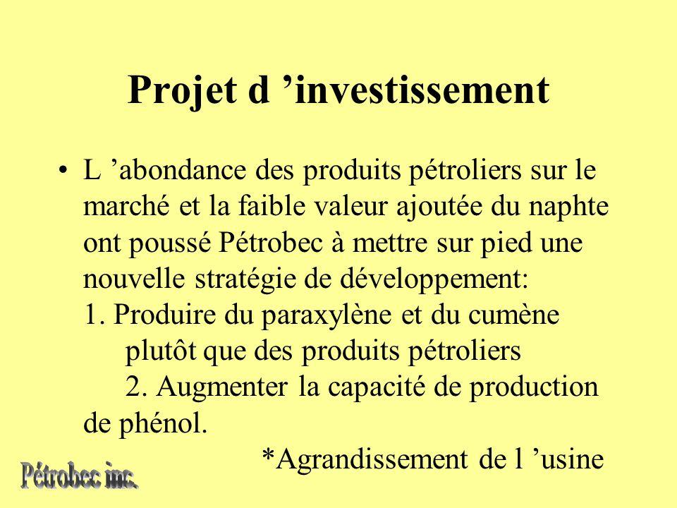 Projet d investissement L abondance des produits pétroliers sur le marché et la faible valeur ajoutée du naphte ont poussé Pétrobec à mettre sur pied une nouvelle stratégie de développement: 1.