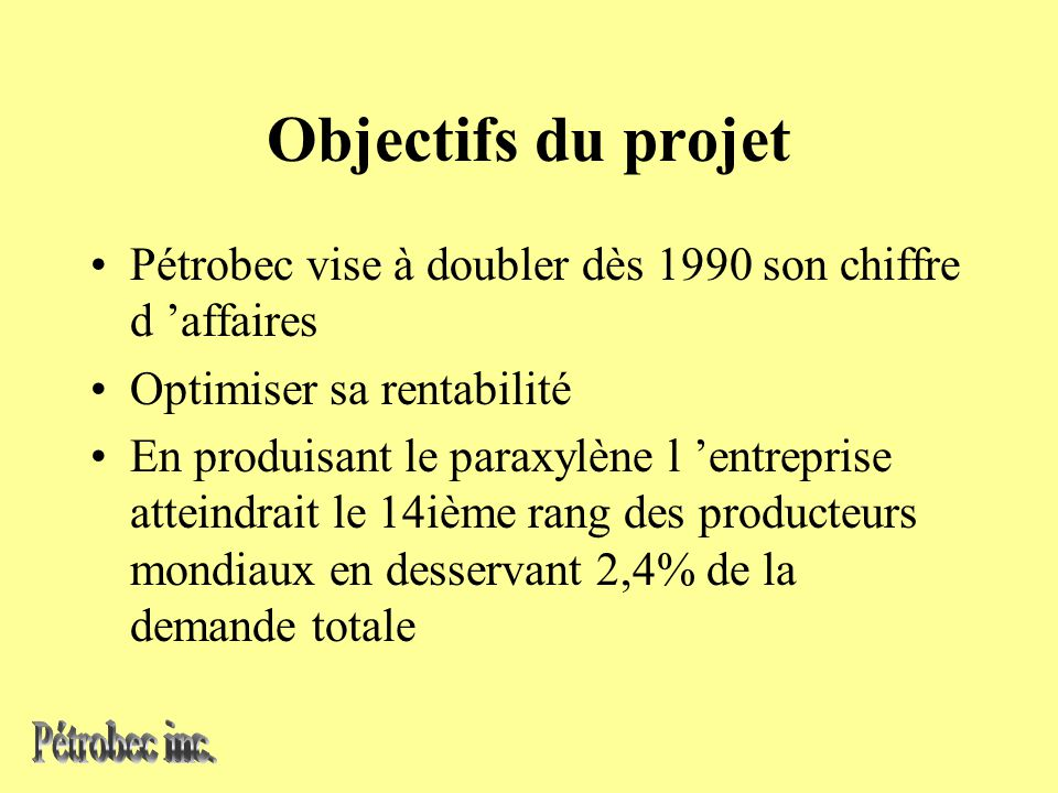 Objectifs du projet Pétrobec vise à doubler dès 1990 son chiffre d affaires Optimiser sa rentabilité En produisant le paraxylène l entreprise atteindrait le 14ième rang des producteurs mondiaux en desservant 2,4% de la demande totale