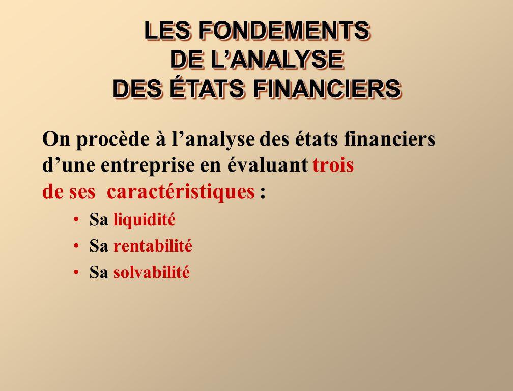 On procède à lanalyse des états financiers dune entreprise en évaluant trois de ses caractéristiques : Sa liquidité Sa rentabilité Sa solvabilité LES