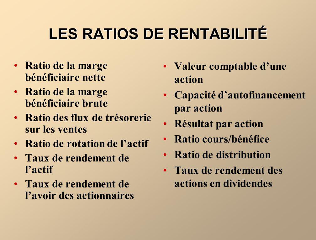 LES RATIOS DE RENTABILITÉ Ratio de la marge bénéficiaire nette Ratio de la marge bénéficiaire brute Ratio des flux de trésorerie sur les ventes Ratio