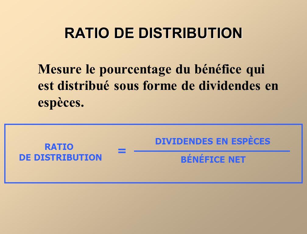 RATIO DE DISTRIBUTION Mesure le pourcentage du bénéfice qui est distribué sous forme de dividendes en espèces. RATIO DE DISTRIBUTION DIVIDENDES EN ESP
