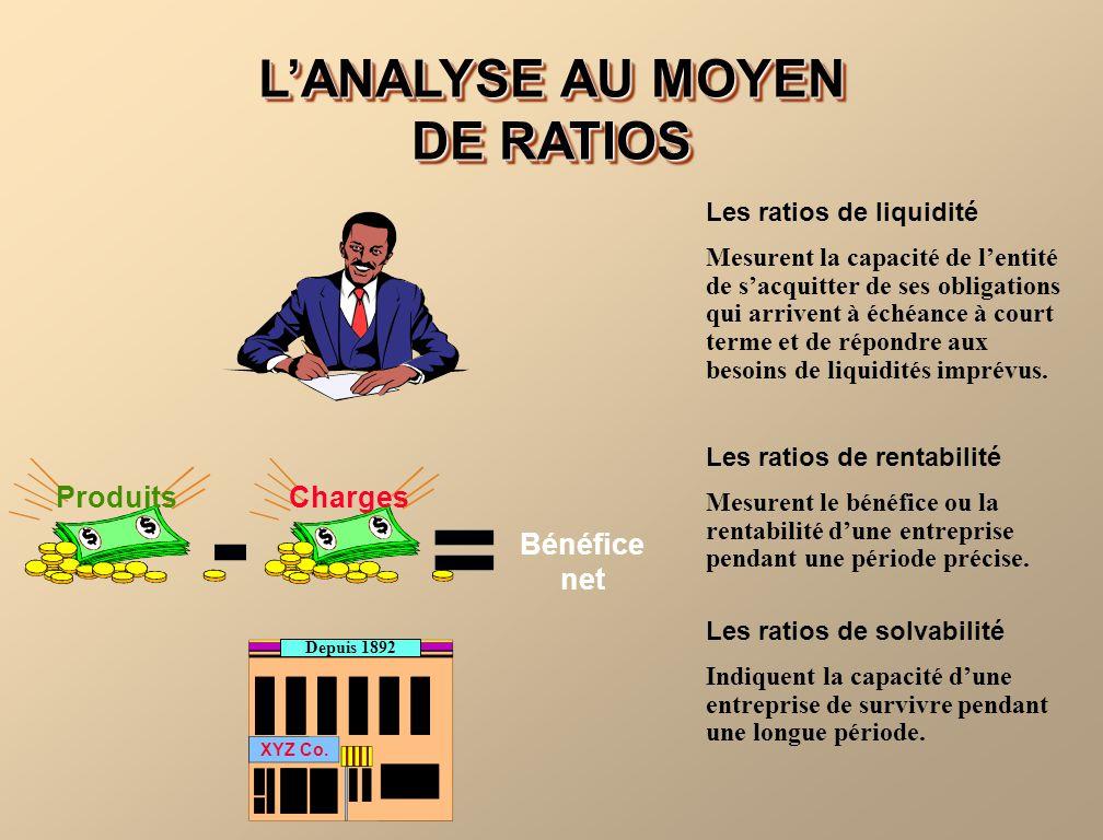 LANALYSE AU MOYEN DE RATIOS Les ratios de liquidité Mesurent la capacité de lentité de sacquitter de ses obligations qui arrivent à échéance à court t