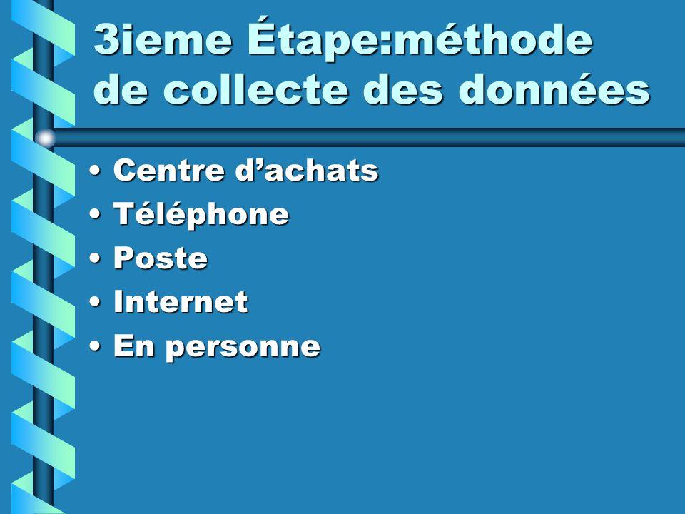 3ieme Étape:méthode de collecte des données Centre dachatsCentre dachats TéléphoneTéléphone PostePoste InternetInternet En personneEn personne