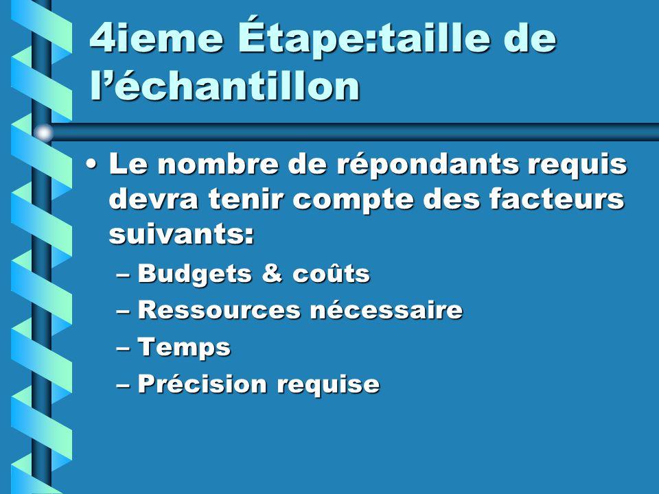 4ieme Étape:taille de léchantillon Le nombre de répondants requis devra tenir compte des facteurs suivants:Le nombre de répondants requis devra tenir