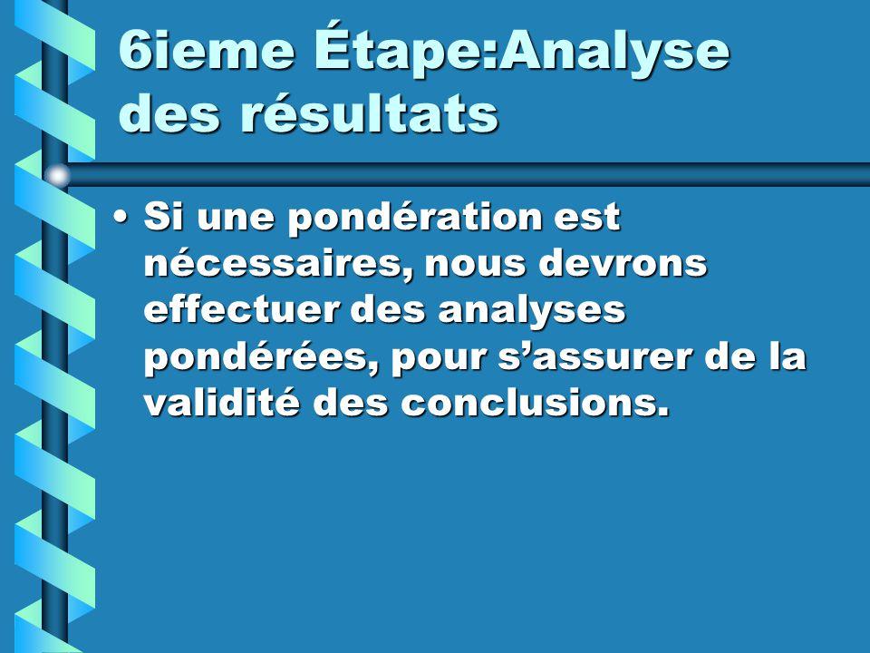 6ieme Étape:Analyse des résultats Si une pondération est nécessaires, nous devrons effectuer des analyses pondérées, pour sassurer de la validité des conclusions.Si une pondération est nécessaires, nous devrons effectuer des analyses pondérées, pour sassurer de la validité des conclusions.