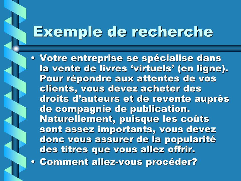 Exemple de recherche Votre entreprise se spécialise dans la vente de livres virtuels (en ligne). Pour répondre aux attentes de vos clients, vous devez