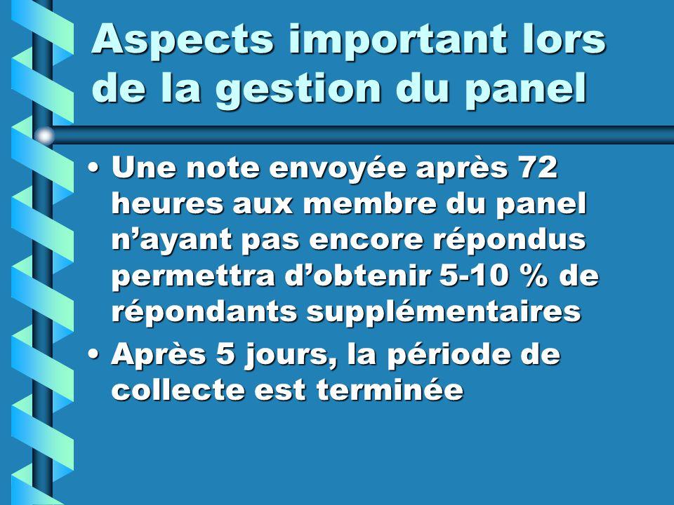 Aspects important lors de la gestion du panel Une note envoyée après 72 heures aux membre du panel nayant pas encore répondus permettra dobtenir 5-10