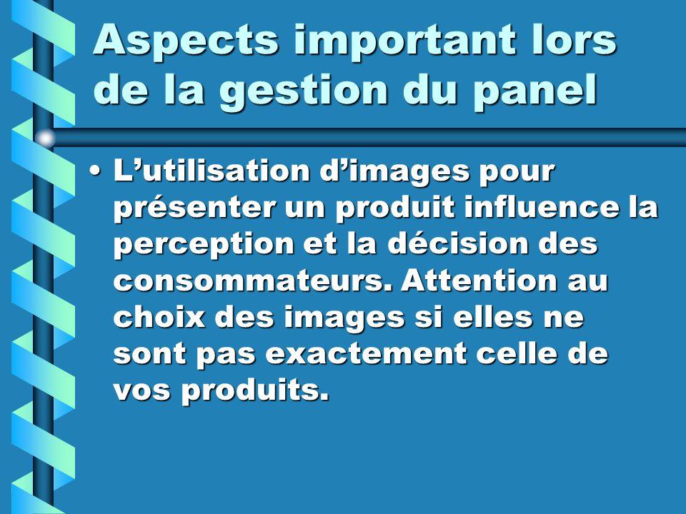 Aspects important lors de la gestion du panel Lutilisation dimages pour présenter un produit influence la perception et la décision des consommateurs.
