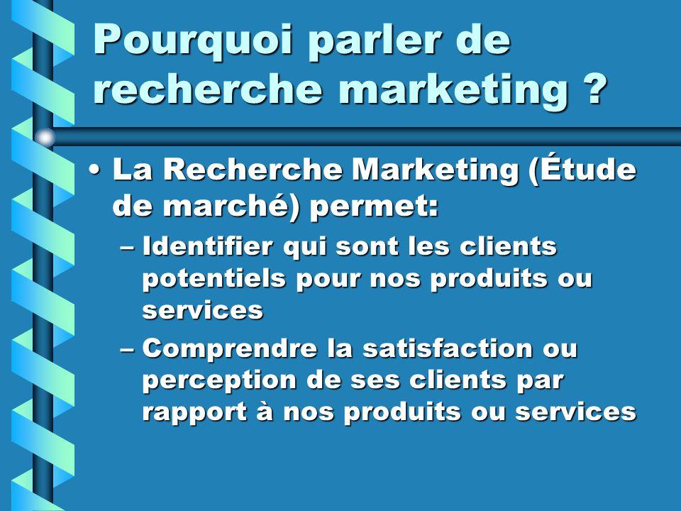 Pourquoi parler de recherche marketing ? La Recherche Marketing (Étude de marché) permet:La Recherche Marketing (Étude de marché) permet: –Identifier