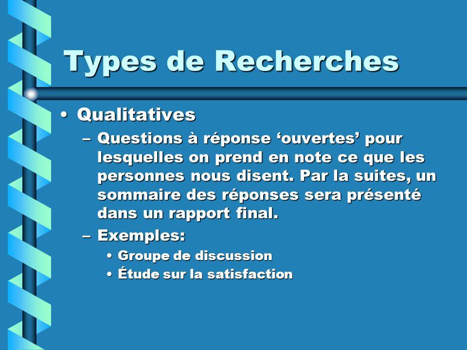 Types de Recherches QualitativesQualitatives –Questions à réponse ouvertes pour lesquelles on prend en note ce que les personnes nous disent.