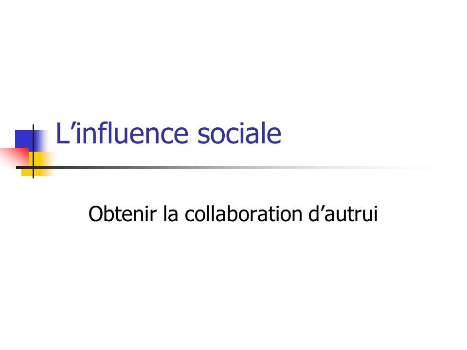 Linfluence sociale Obtenir la collaboration dautrui