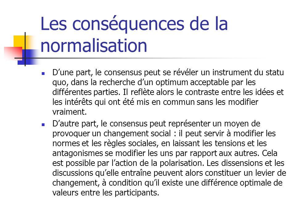 Les conséquences de la normalisation Dune part, le consensus peut se révéler un instrument du statu quo, dans la recherche dun optimum acceptable par