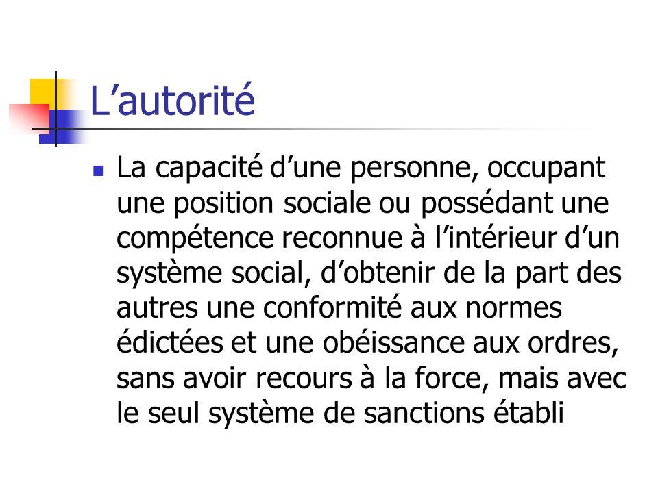 Lautorité La capacité dune personne, occupant une position sociale ou possédant une compétence reconnue à lintérieur dun système social, dobtenir de l