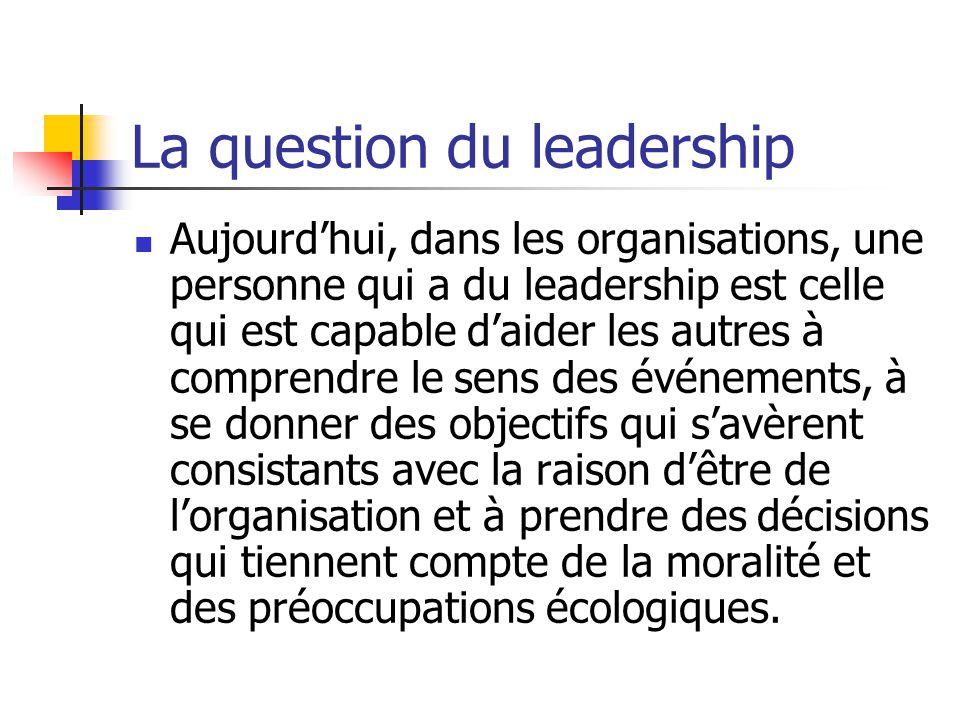 La question du leadership Aujourdhui, dans les organisations, une personne qui a du leadership est celle qui est capable daider les autres à comprendr