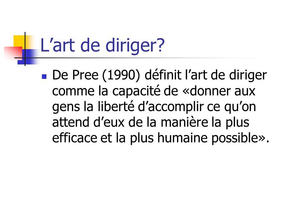Lart de diriger? De Pree (1990) définit lart de diriger comme la capacité de «donner aux gens la liberté daccomplir ce quon attend deux de la manière