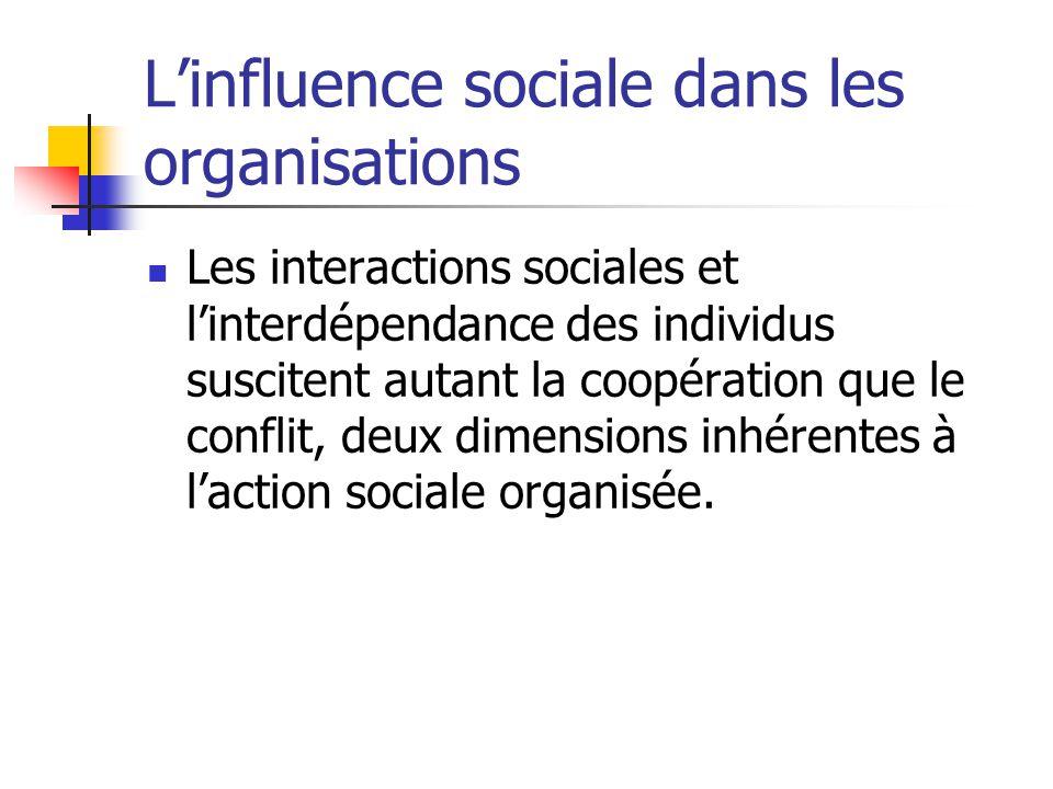 Linfluence sociale dans les organisations Les interactions sociales et linterdépendance des individus suscitent autant la coopération que le conflit,