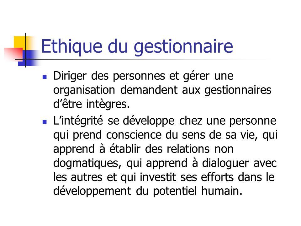 Ethique du gestionnaire Diriger des personnes et gérer une organisation demandent aux gestionnaires dêtre intègres. Lintégrité se développe chez une p