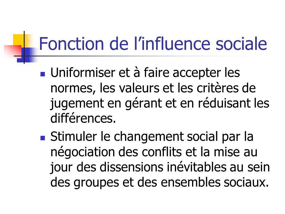 Fonction de linfluence sociale Uniformiser et à faire accepter les normes, les valeurs et les critères de jugement en gérant et en réduisant les diffé