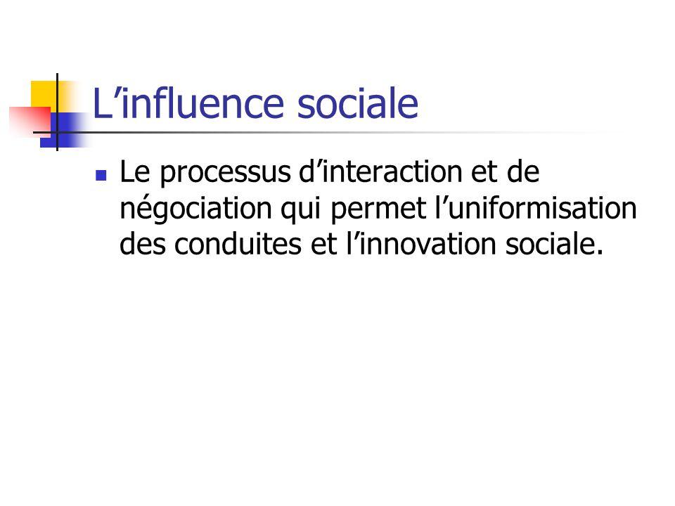 Linfluence sociale Le processus dinteraction et de négociation qui permet luniformisation des conduites et linnovation sociale.