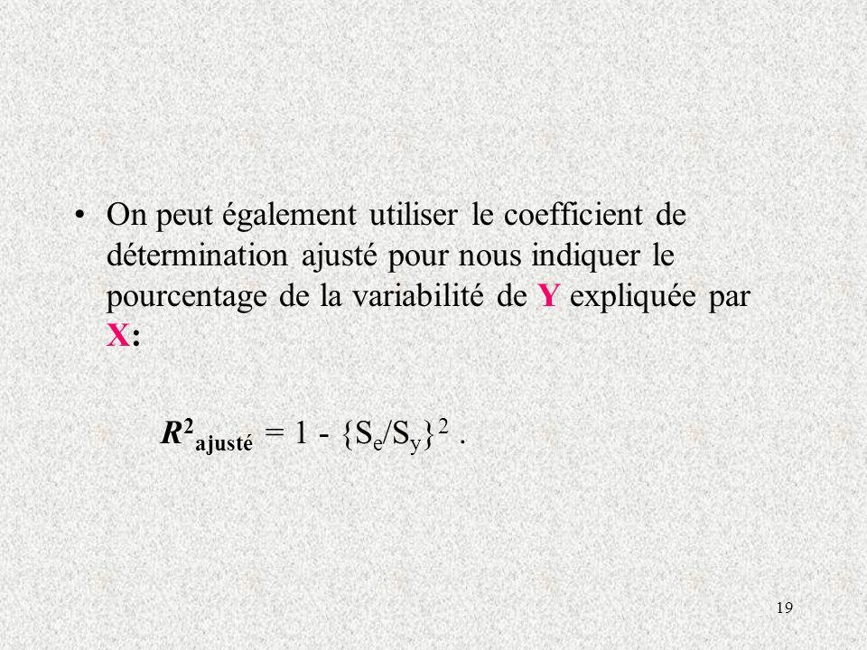 19 On peut également utiliser le coefficient de détermination ajusté pour nous indiquer le pourcentage de la variabilité de Y expliquée par X: R 2 ajusté = 1 - {S e /S y } 2.