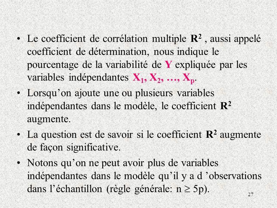 27 Le coefficient de corrélation multiple R 2, aussi appelé coefficient de détermination, nous indique le pourcentage de la variabilité de Y expliquée par les variables indépendantes X 1, X 2, …, X p.