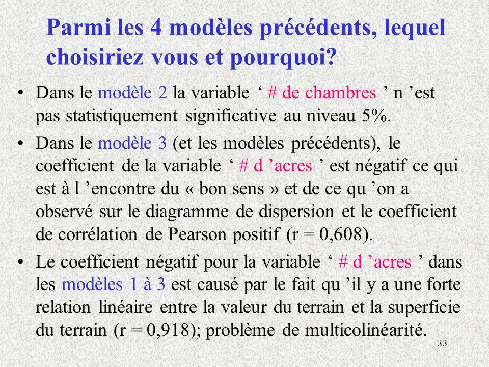 33 Parmi les 4 modèles précédents, lequel choisiriez vous et pourquoi? Dans le modèle 2 la variable # de chambres n est pas statistiquement significat