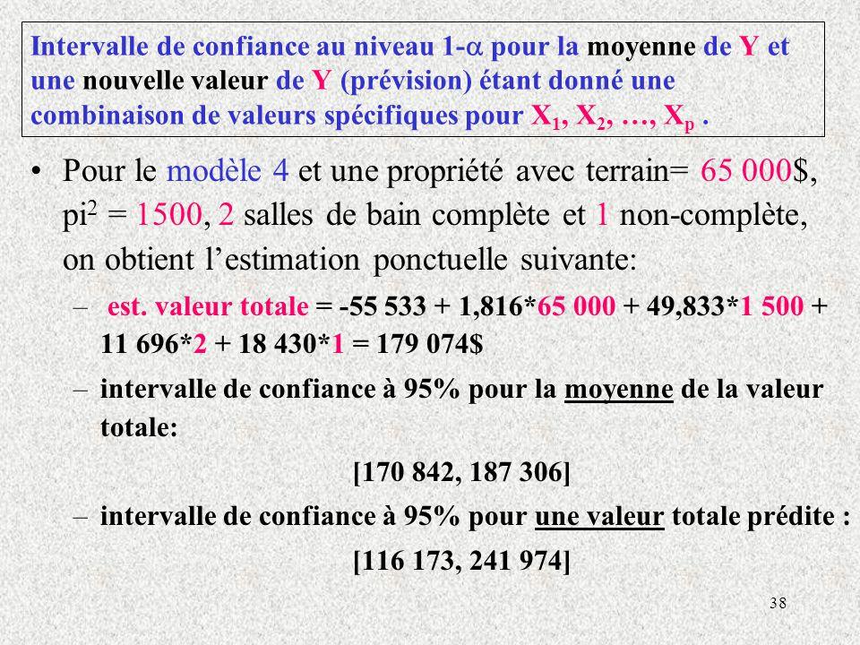 38 Intervalle de confiance au niveau 1- pour la moyenne de Y et une nouvelle valeur de Y (prévision) étant donné une combinaison de valeurs spécifiques pour X 1, X 2, …, X p.