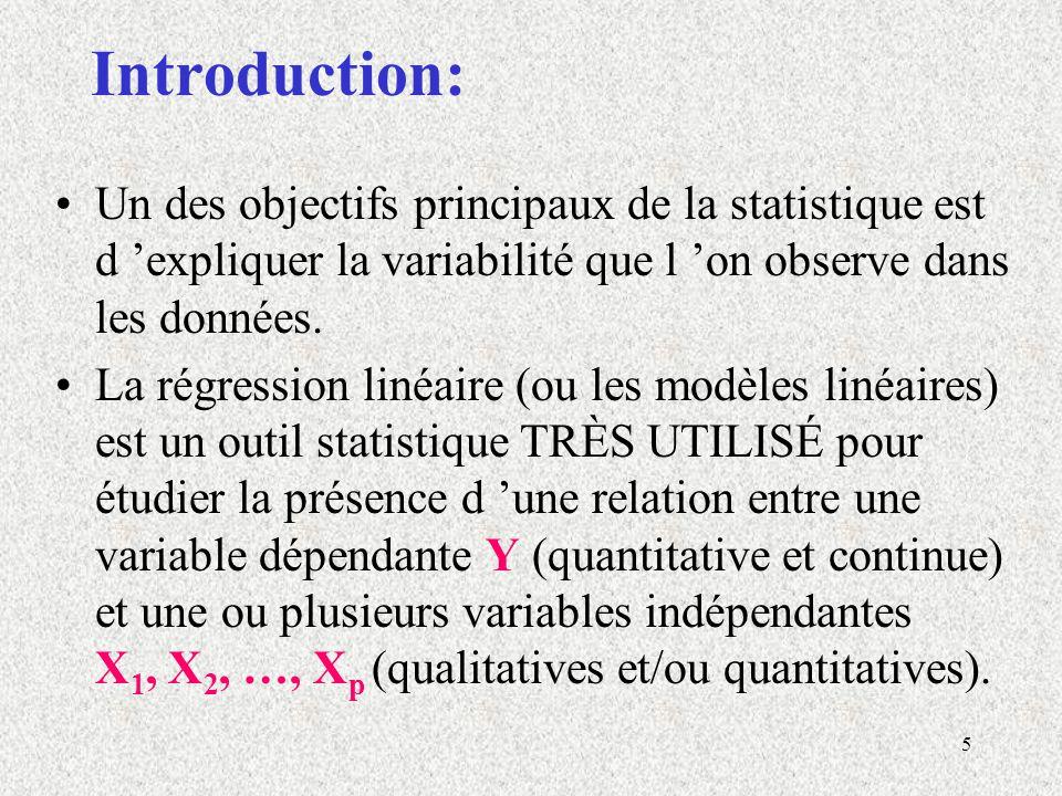 5 Introduction: Un des objectifs principaux de la statistique est d expliquer la variabilité que l on observe dans les données. La régression linéaire