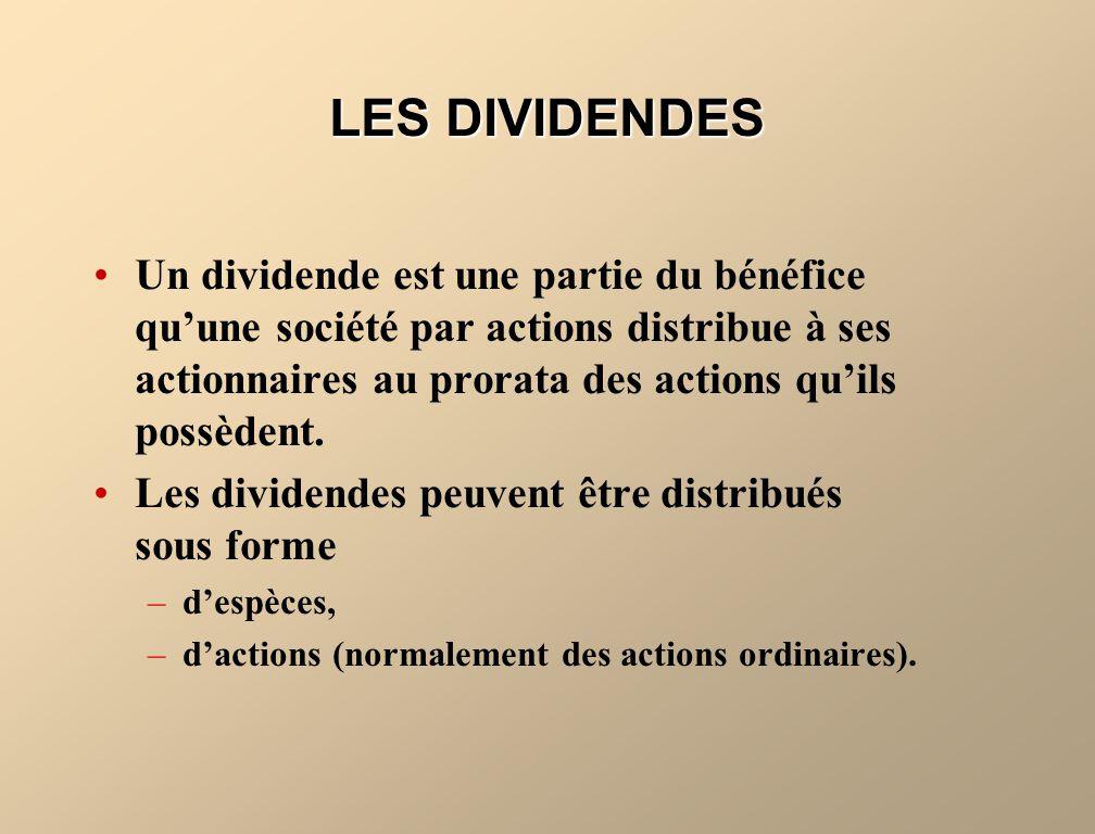 LINCIDENCE DU FRACTIONNEMENT DACTIONS, DU VERSEMENT DE DIVIDENDES EN ACTIONS ET DU VERSEMENT DE DIVIDENDES EN ESPÈCES