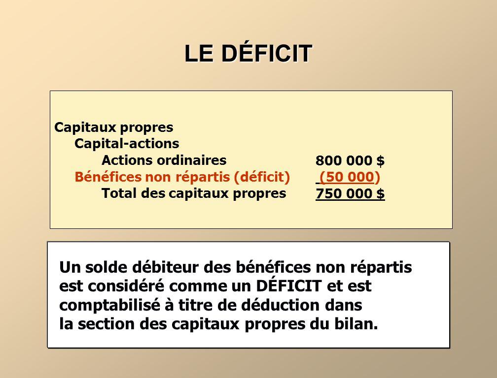 LES BÉNÉFICES NON RÉPARTIS Les bénéfices non répartis correspondent au total cumulatif du bénéfice net (ou de la perte nette) conservé dans lentreprise (non distribué aux actionnaires).
