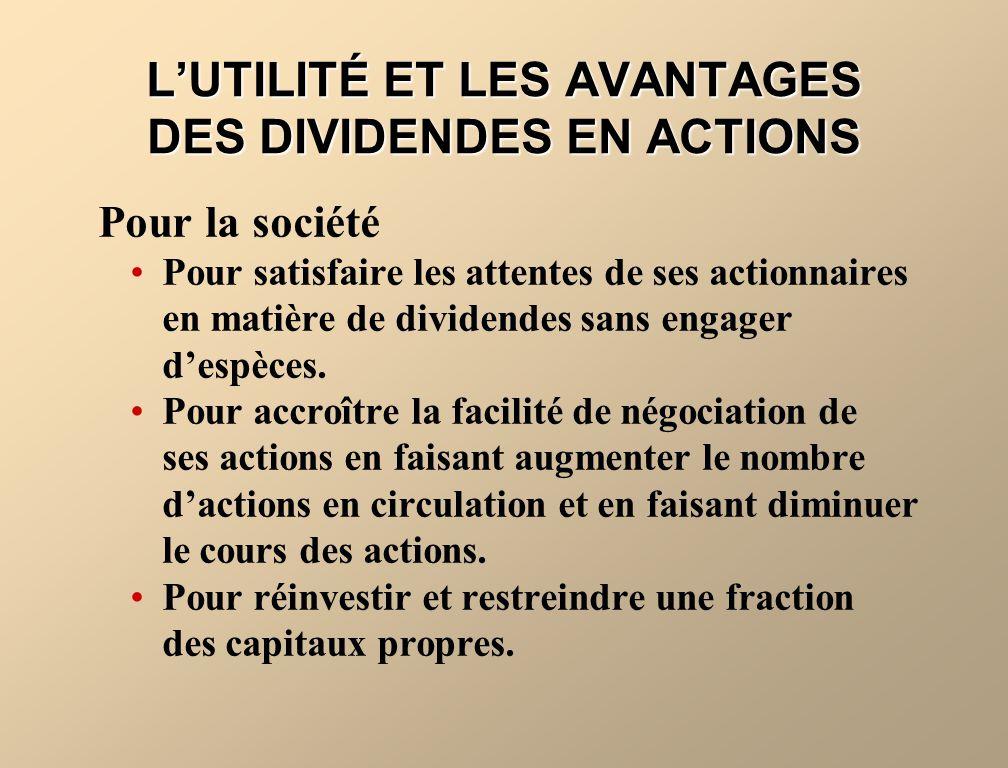 LINCIDENCE DES DIVIDENDES EN ACTIONS Les dividendes en actions modifient la composition des capitaux propres, car une fraction des bénéfices non répartis est virée dans le capital-actions.