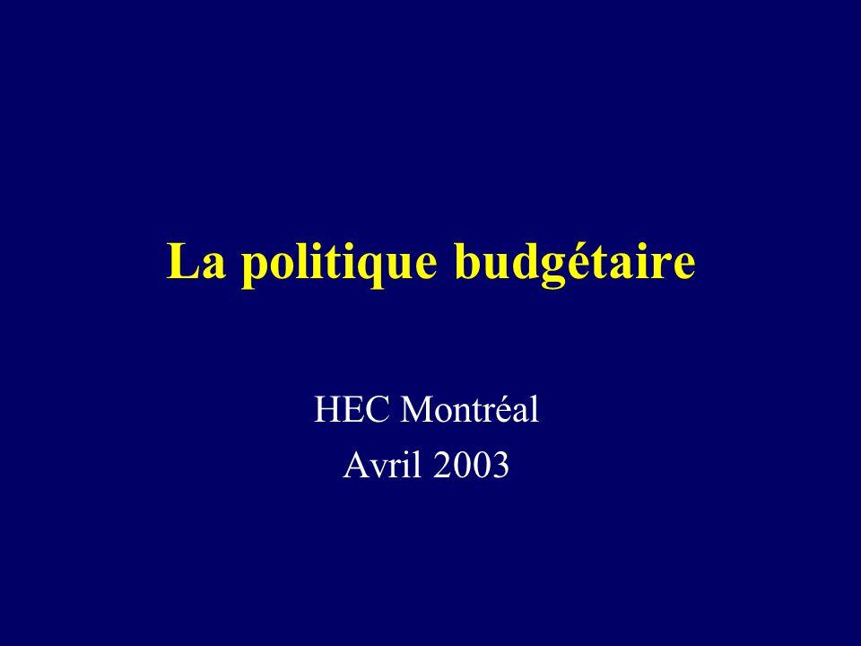 2 La politique budgétaire Nous examinons ici les effets de variations : –Des dépenses publiques (G) –Des taxes et impôts nets des transferts (T – Tr) À court terme, la politique budgétaire touche surtout la DA Commençons par léconomie fermée