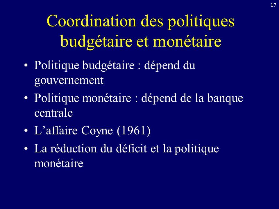 17 Coordination des politiques budgétaire et monétaire Politique budgétaire : dépend du gouvernement Politique monétaire : dépend de la banque central