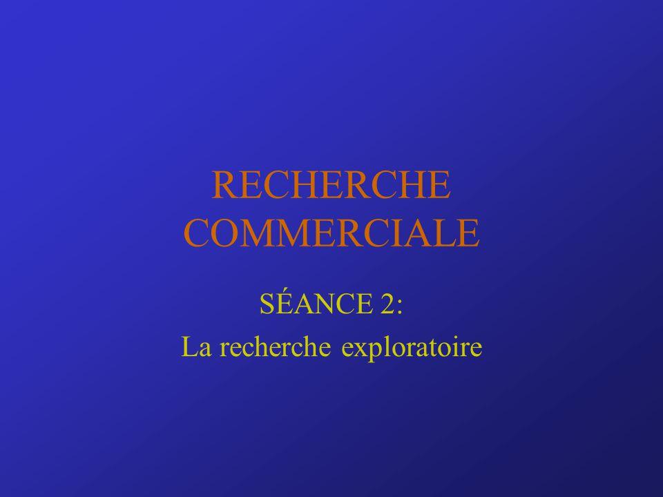 RECHERCHE COMMERCIALE SÉANCE 2: La recherche exploratoire