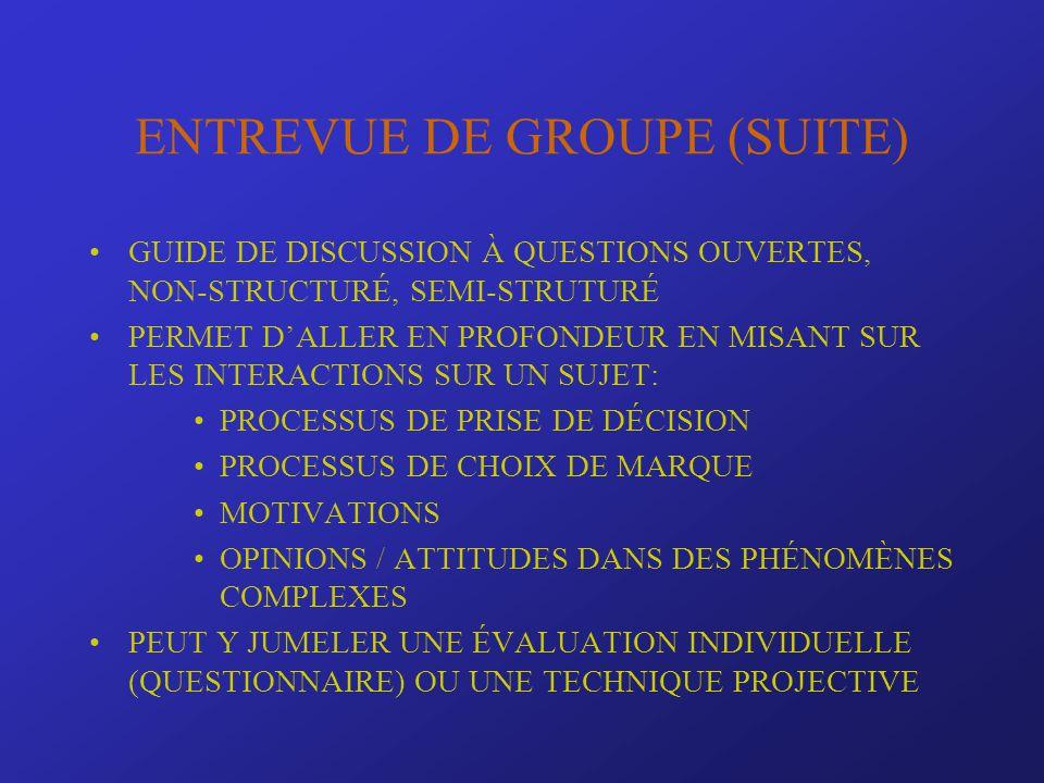 ENTREVUE DE GROUPE (SUITE) GUIDE DE DISCUSSION À QUESTIONS OUVERTES, NON-STRUCTURÉ, SEMI-STRUTURÉ PERMET DALLER EN PROFONDEUR EN MISANT SUR LES INTERA