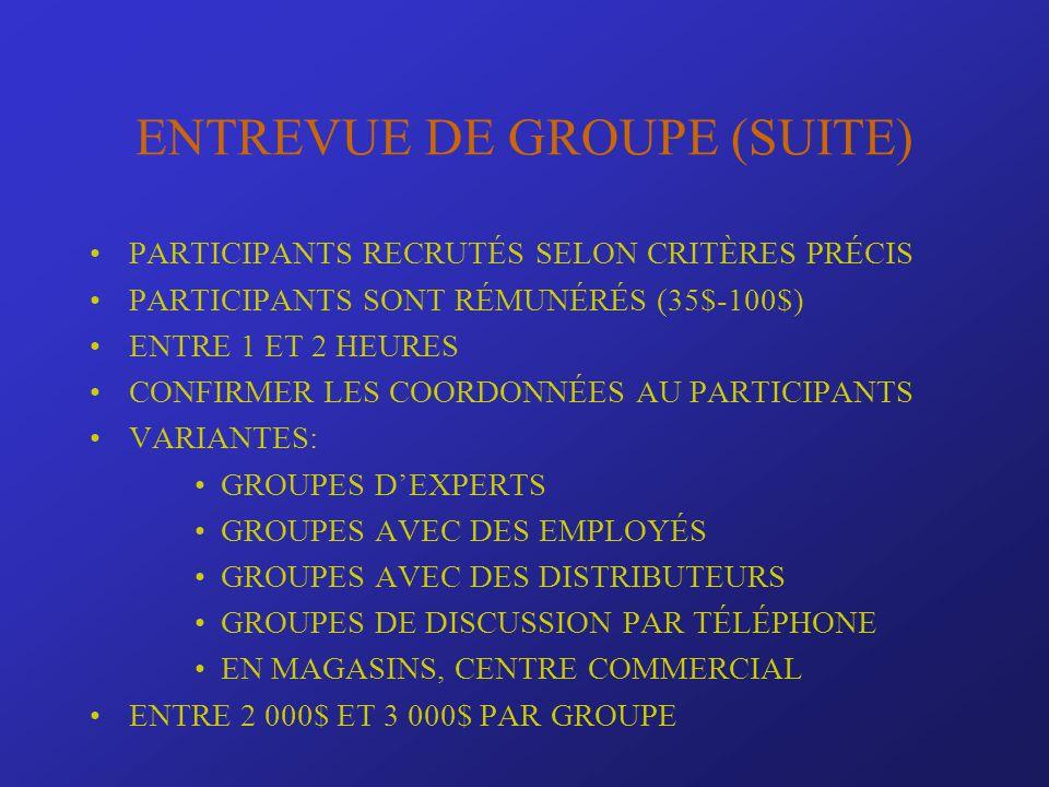 ENTREVUE DE GROUPE (SUITE) PARTICIPANTS RECRUTÉS SELON CRITÈRES PRÉCIS PARTICIPANTS SONT RÉMUNÉRÉS (35$-100$) ENTRE 1 ET 2 HEURES CONFIRMER LES COORDO