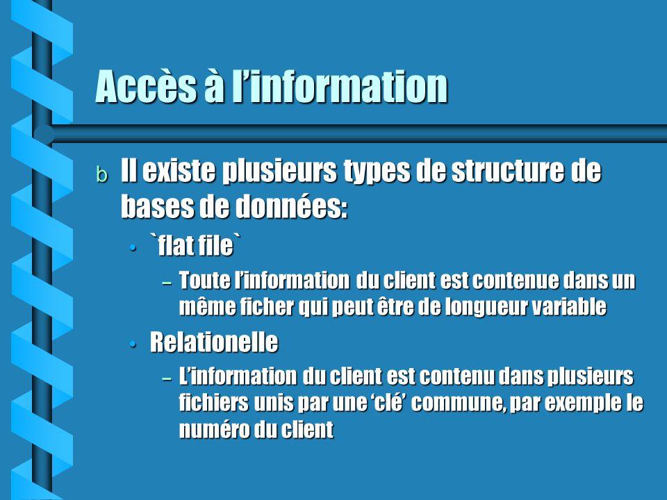 Accès à linformation b Il existe plusieurs types de structure de bases de données: `flat file` `flat file` – Toute linformation du client est contenue