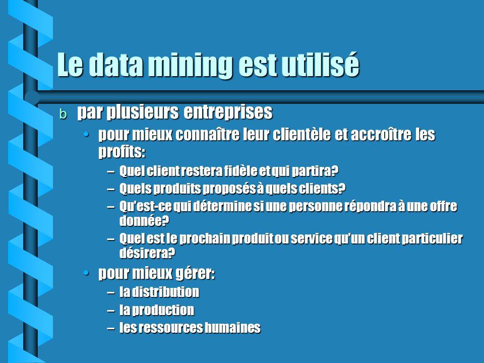 Le data mining est utilisé b par plusieurs entreprises pour mieux connaître leur clientèle et accroître les profits:pour mieux connaître leur clientèl