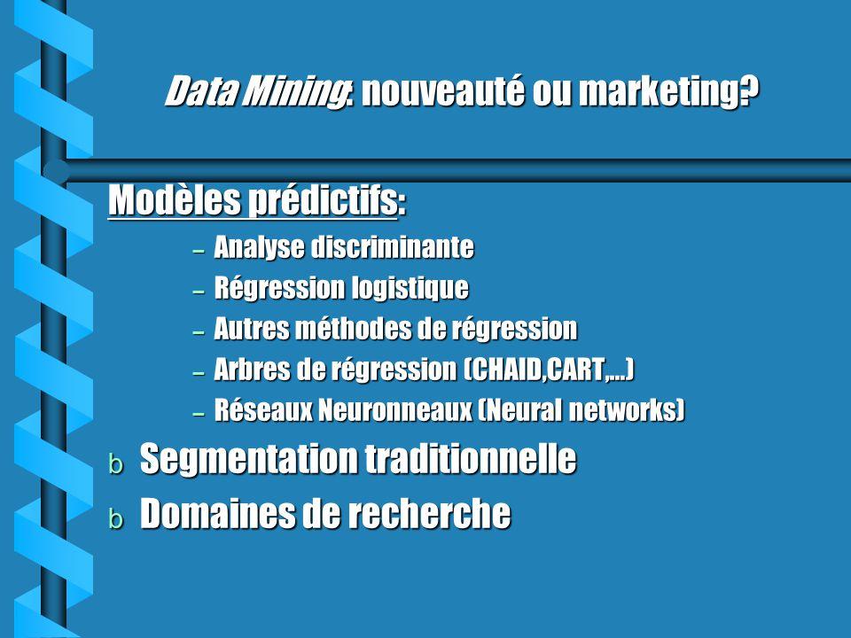 Data Mining: nouveauté ou marketing? Modèles prédictifs: – Analyse discriminante – Régression logistique – Autres méthodes de régression – Arbres de r