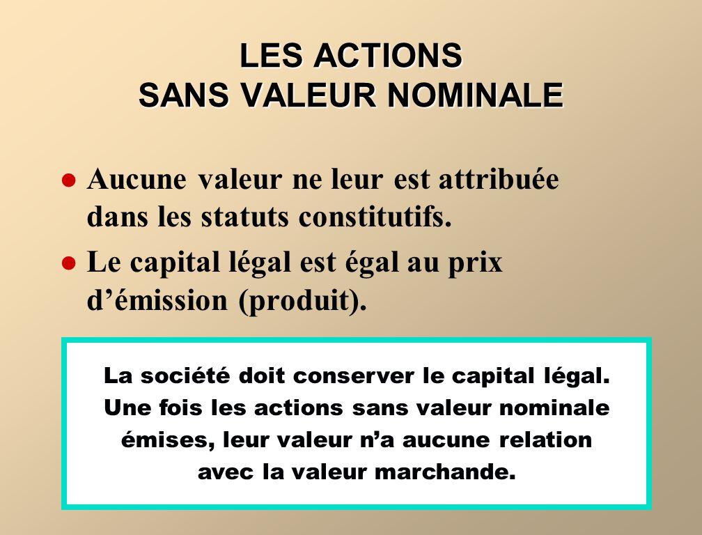 LES ACTIONS SANS VALEUR NOMINALE Aucune valeur ne leur est attribuée dans les statuts constitutifs. Le capital légal est égal au prix démission (produ
