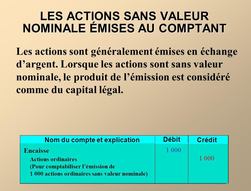 Nom du compte et explication Débit Crédit Encaisse Actions ordinaires (Pour comptabiliser lémission de 1 000 actions ordinaires sans valeur nominale)
