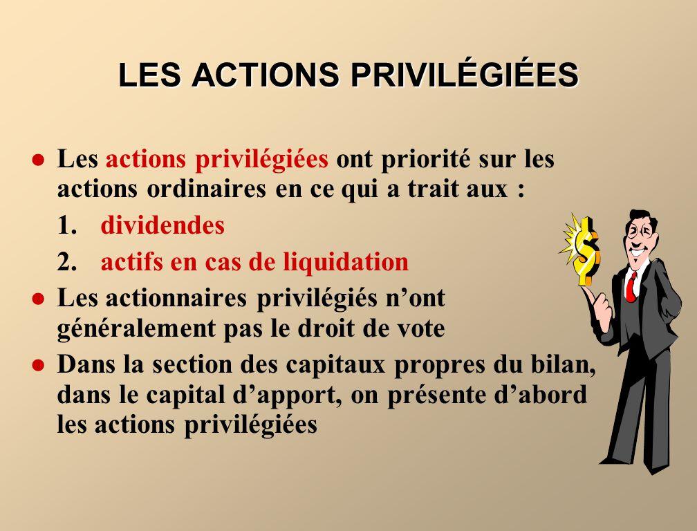 Les actions privilégiées ont priorité sur les actions ordinaires en ce qui a trait aux : 1.dividendes 2.actifs en cas de liquidation Les actionnaires