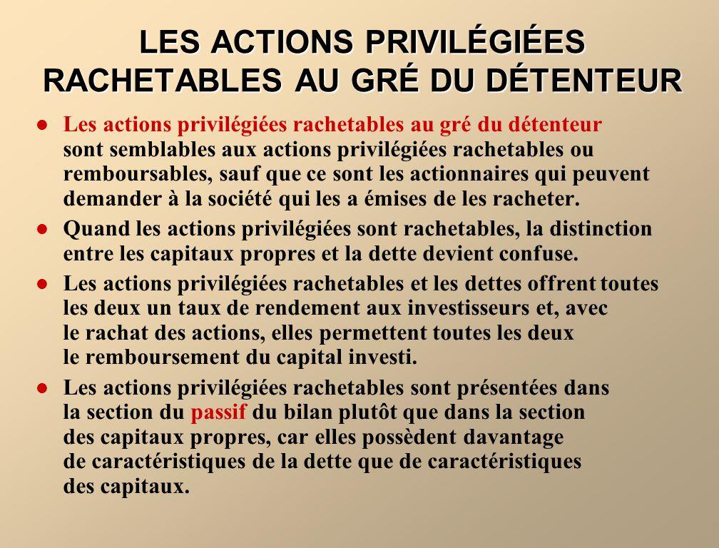 LES ACTIONS PRIVILÉGIÉES RACHETABLES AU GRÉ DU DÉTENTEUR Les actions privilégiées rachetables au gré du détenteur sont semblables aux actions privilég