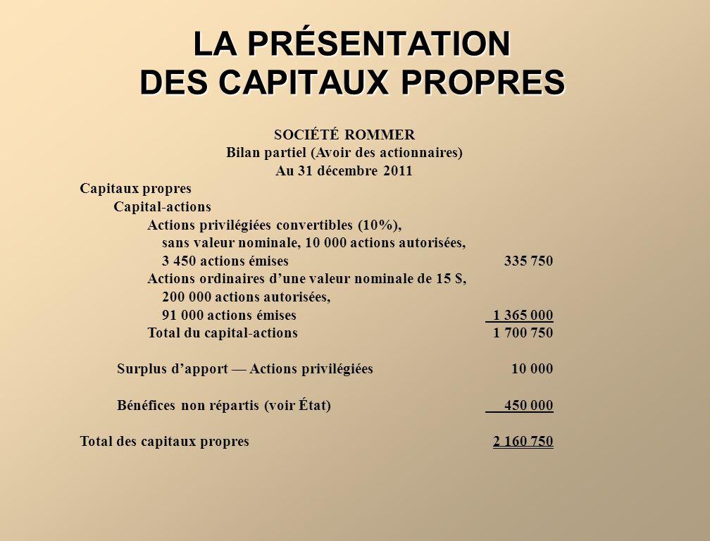 LA PRÉSENTATION DES CAPITAUX PROPRES SOCIÉTÉ ROMMER Bilan partiel (Avoir des actionnaires) Au 31 décembre 2011 Capitaux propres Capital-actions Action