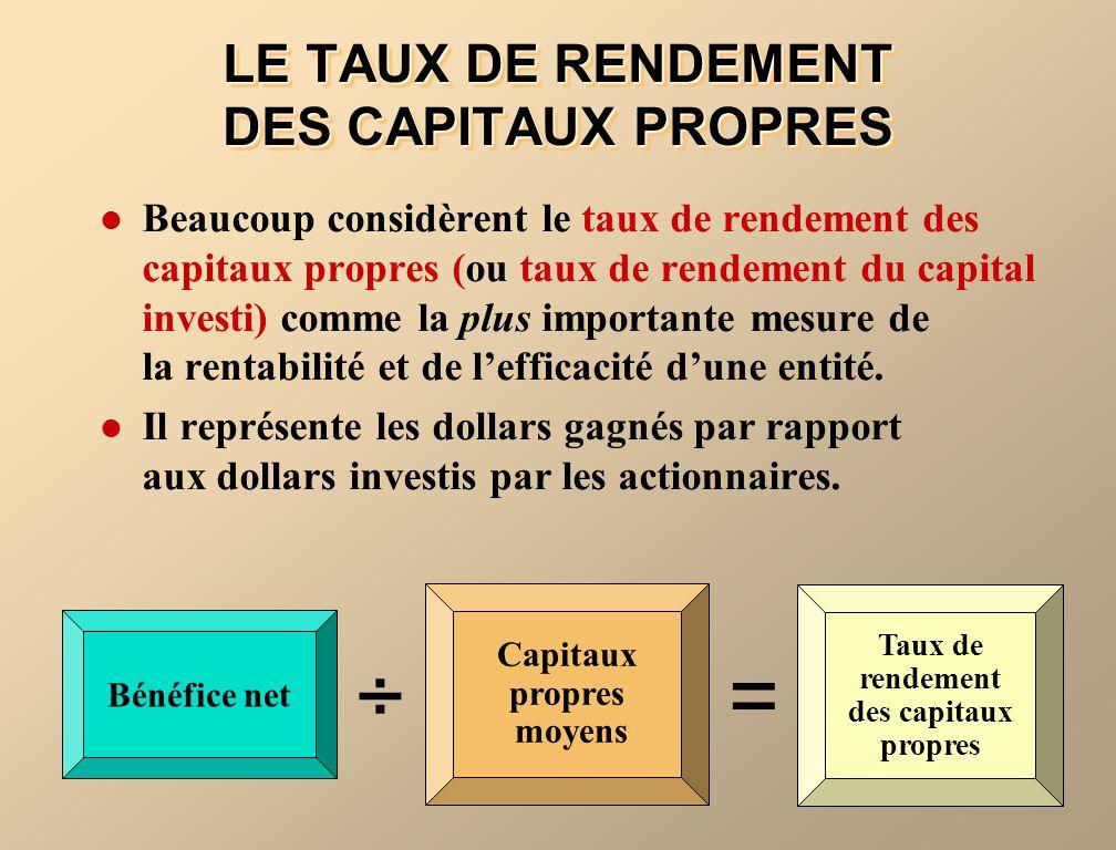 LE TAUX DE RENDEMENT DES CAPITAUX PROPRES Beaucoup considèrent le taux de rendement des capitaux propres (ou taux de rendement du capital investi) com