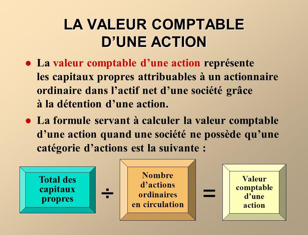 LA VALEUR COMPTABLE DUNE ACTION La valeur comptable dune action représente les capitaux propres attribuables à un actionnaire ordinaire dans lactif ne