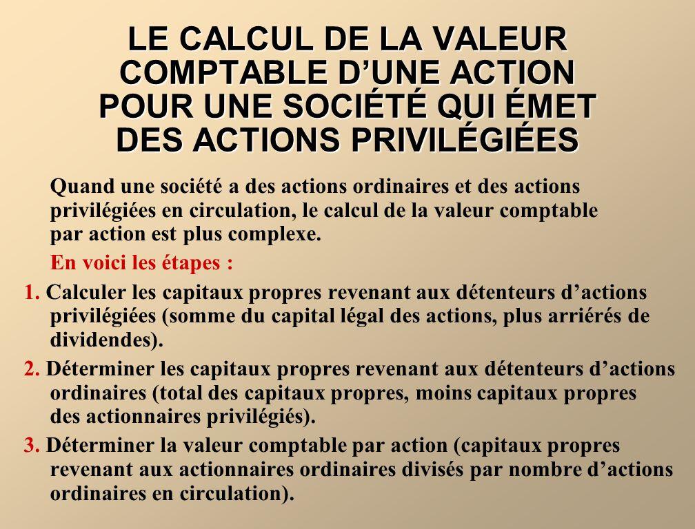 Quand une société a des actions ordinaires et des actions privilégiées en circulation, le calcul de la valeur comptable par action est plus complexe.