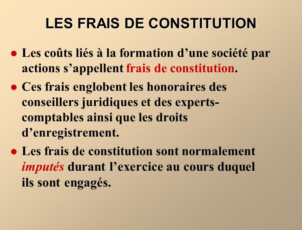 LES FRAIS DE CONSTITUTION Les coûts liés à la formation dune société par actions sappellent frais de constitution. Ces frais englobent les honoraires